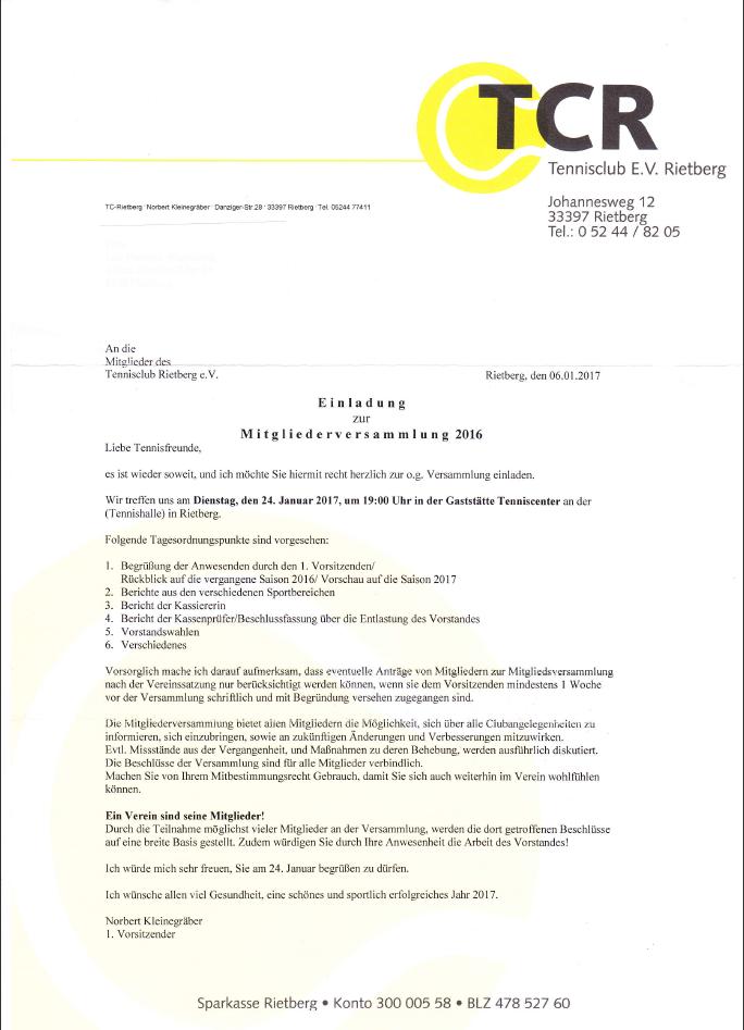 news | tc rietberg | tennisclub rietberg e.v., Einladung