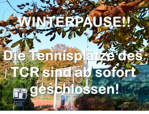 Winterpause!! Die Tenisplätze sind ab sofort geschlossen!