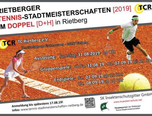 Der TC Rietberg ist Ausrichter der Rietberger Tennis-Stadtmeisterschaften 2019